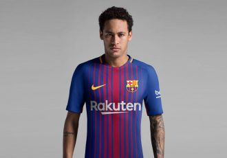 Neymar Jr wearing the new FC Barcelona Home Kit for 2017-18 (Photo courtesy: Nike)
