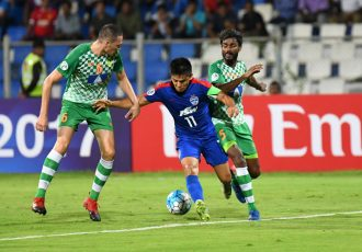 Bengaluru FC skipper Sunil Chhetri in action against Maziya Sports & Recreation Club (Photo courtesy: Bengaluru FC)