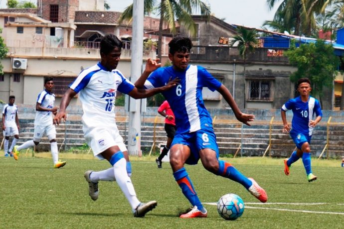 U-18 I-League match action action between AIFF Elite Academy (Goa) and Bengaluru FC. (Photo courtesy: AIFF Media)