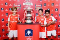 The Emirates FA Cup made its way to Arsenal Soccer Schools Dubai at 7he Sevens so that it's lucky students could join in to take special individual and group photos with the trophy. (Photo courtesy: Emirates)