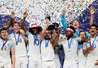 England U-20 national team celebrating their FIFA U-20 World Cup Korea Republic 2017 win (Photo courtesy: FIFA U-17 World Cup India 2017)