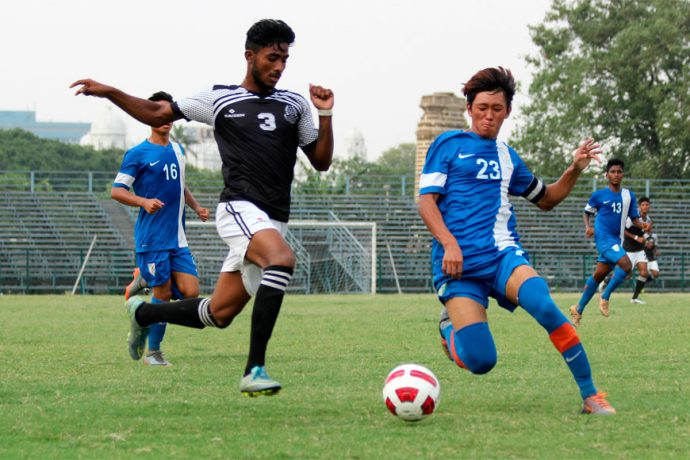U-19 IFA Shield 2017 match action between Mohammedan Sporting Club and AIFF Elite Academy (Photo courtesy: Mohammedan Sporting Club)