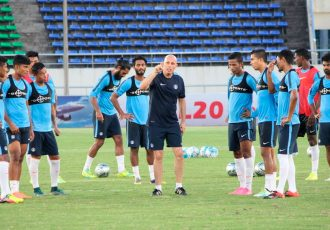 Stephen Constantine during a training session with the Indian national team (Photo courtesy: AIFF Media)