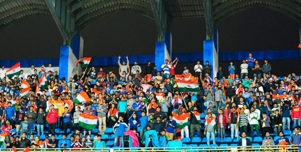 Indian football fans cheering for the Indian national team (Photo courtesy: AIFF Media)