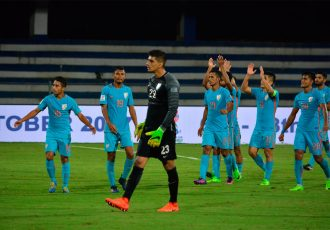 Indian national team players celebrating (Photo courtesy: AIFF Media)