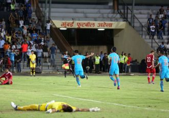 Indian national team star striker Jeje Lakpekhlua celebrating his goal in India's 2-0 against Nepal. (Photo courtesy: AIFF Media)