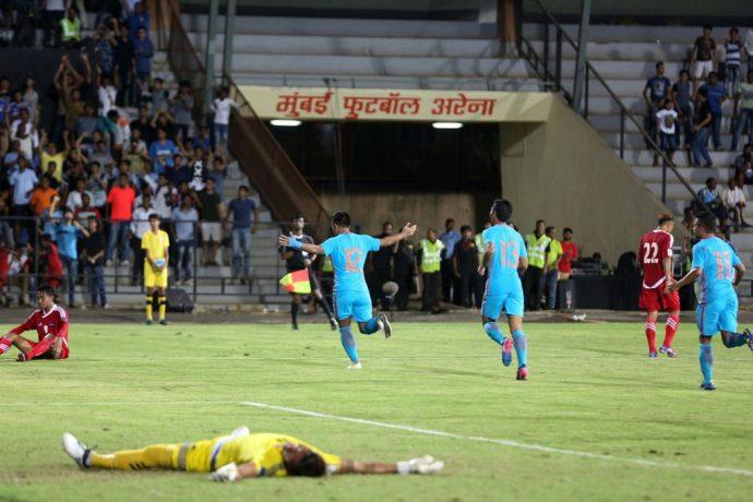 Indian national team star striker Jeje Lakpekhlua celebrating his goal in India's 2-0 against Nepal. (Photo courtesy: AIFF Media)