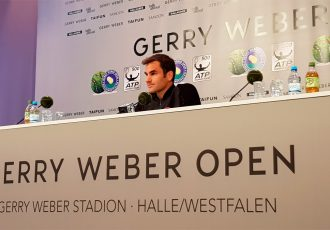 Swiss tennis legend Roger Federer facing the media after winning the GERRY WEBER OPEN 2017 (Photo courtesy: CPD Football)