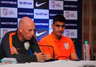 Indian national team coach Stephen Constantine and goalkeeper Gurpreet Singh Sandhu (Photo courtesy: AIFF Media)