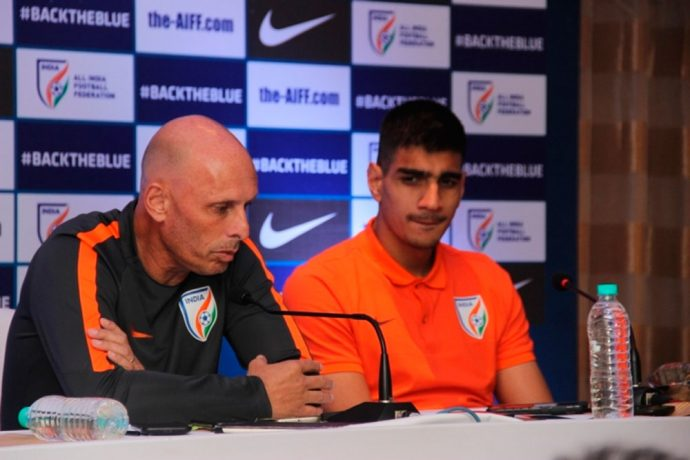 Indian national team coach Stephen Constantine and goalkeeper Gurpreet Singh Sandhu (Photo courtesy: AIFF Media)