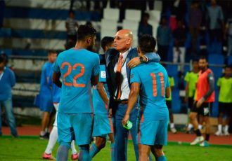 Indian national team coach Stephen Constantine celebrating with his players (Photo courtesy: AIFF Media)