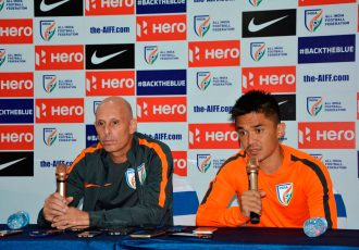 Indian national team coach Stephen Constantine and star striker Sunil Chhetri (Photo courtesy: AIFF Media)