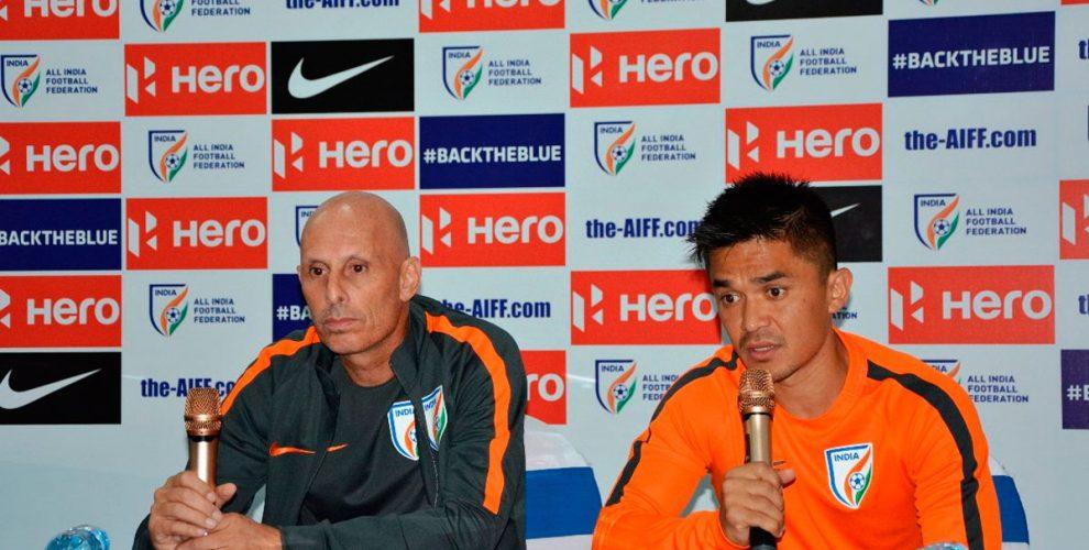 Indian national team coach Stephen Constantine and star striker Sunil Chhetri (Photo courtesy: AIFF Media)