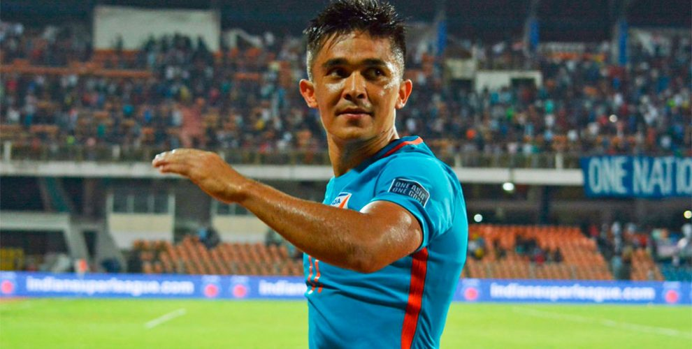 Indian national team star striker Sunil Chhetri (Photo courtesy: AIFF Media)