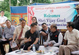Union Minister of State for Youth Affairs and Sports Shri Vijay Goel visits Mizoram (Photo courtesy: Mizoram Football Association)