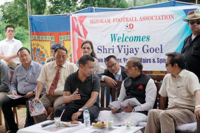 Union Minister of State for Youth Affairs and Sports Shri Vijay Goel visits Mizoram (Photo courtesy: Mizoram Football Association)