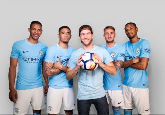 Gabriel Gargiulo Pacca from Woo the Board shoots a commercial with Manchester City players (Photo courtesy: Wix.com Ltd.)
