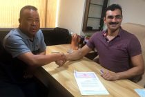 Robert Royte, Owner & President, Aizawl FC and Bollywood film producer Tarun Rathi, Owner & Director of Rajnandini Entertainment Limited (Photo courtesy: Aizawl FC)