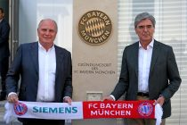The birthplace of success: In 1900, the FC Bayern Munich club was founded in the former Café Gisela, which was located at a corner on Kardinal-Döpfner-Strasse in Munich – at the current location of Siemens Headquarters. To commemorate the place of origin for this club, which holds the record for the most championships in Germany's top professional football league, Joe Kaeser and Uli Hoenes jointly unveiled a stele that marks this historic site. (Photo courtesy: Siemens AG, Munich/Berlin, www.siemens.com/press)