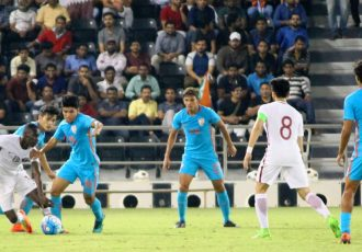 Qatar U-23 manage to escape against India U-23 (Photo courtesy: AIFF Media)