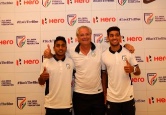 India U-17 players Shubham Sarangi and Rahul KP with head coach Luís Norton de Matos (Photo courtesy: AIFF Media)