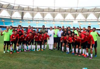 AIFF President Praful Patel visits India U-17 training session (Photo courtesy: AIFF Media)