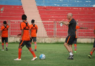 India U-23 national team training session under the watchful eyes of Stephen Constantine. (Photo courtesy: AIFF Media)
