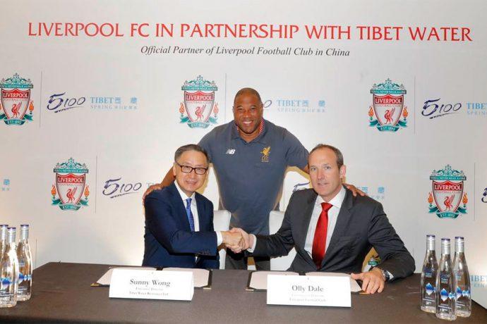 Executive Director of Tibet Water Resources Ltd. Mr. Sunny Wong, Liverpool Legend John Barnes, Commercial Director of Liverpool FC Mr. Olly Dale. (Photo courtesy: Tibet Water Resources Ltd.)