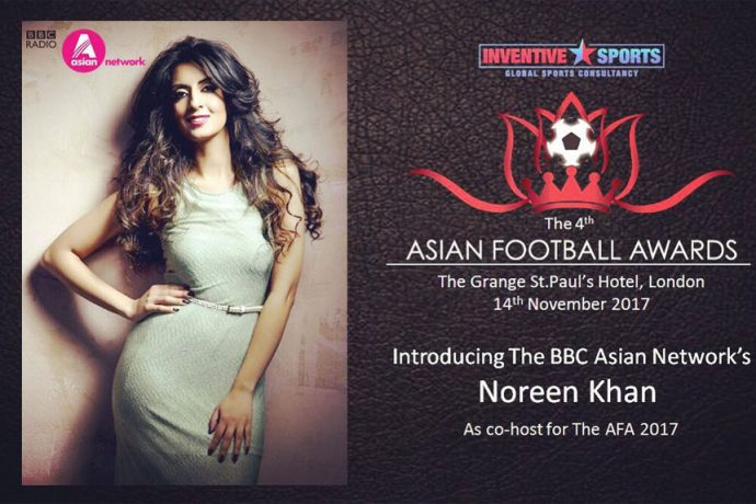 Noreen Khan to co-host the 2017 Asian Football Awards on November 14 (Photo courtesy: Inventive Sports)