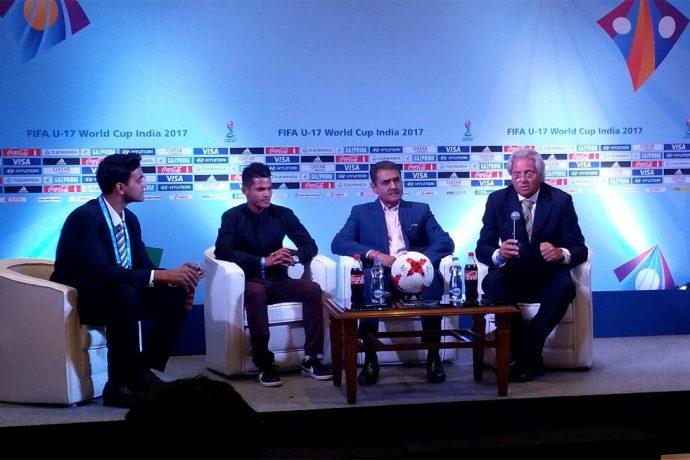 India U-17 star Sanjeev Stalin, AIFF President Praful Patel and India U-17 Heach Coach Luis Norton de Matos meeting the press ahead of the FIFA U-17 World Cup India 2017 Draw in Mumbai. (Photo courtesy: AIFF Media)