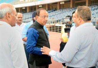 The Minister of State for Youth Affairs and Sports (I/C), Water Resources, River Development and Ganga Rejuvenation, Shri Vijay Goel visiting the Jawaharlal Nehru Stadium in connection with FIFA U-17 World Cup, in New Delhi on July 5, 2017. (Photo courtesy: Press Information Bureau, Government of India)