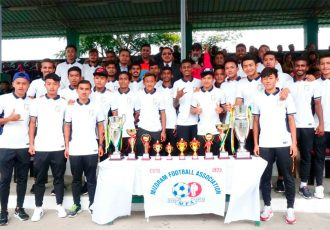 Mizoram Chief Minister Lal Thanhawla met the AIFF Elite Academy U-19 Boys (Photo courtesy: AIFF Media)