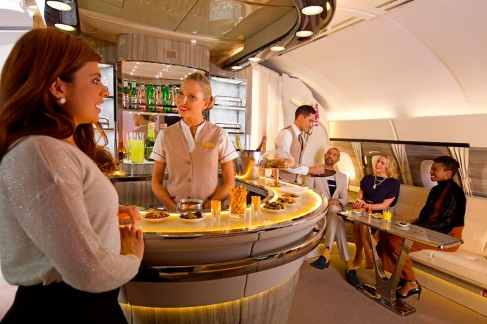 Emirates celebrates 9 years of the A380 service as newly revamped Onboard Lounge takes to the skies. (Photo courtesy: Emirates)