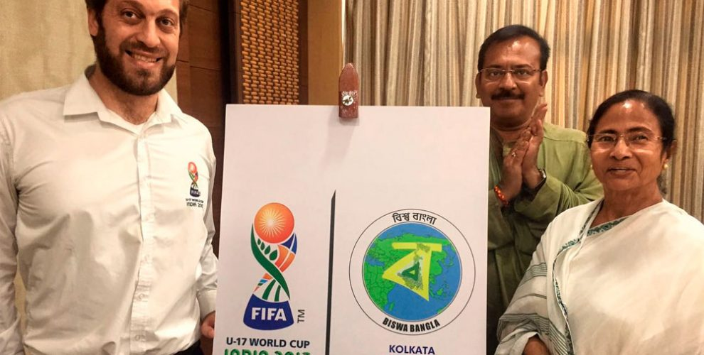 Mamata Banerjee launches Kolkata Host City Logo for FIFA U-17 World Cup India 2017 (Photo courtesy: FIFA U-17 World Cup India 2017 LOC)