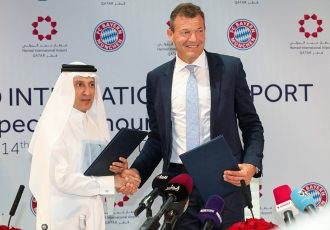 Qatar Airways Group Chief Executive, His Excellency Mr. Akbar Al Baker and FC Bayern München Executive Board Member, Andreas Jung at the signing of the contract, enhancing their sponsorship. (Photo courtesy: Hamad International Airport)