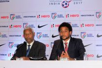 Mauritius coach Francisco Filho (left) during the pre-match press conference (Photo courtesy: AIFF Media)