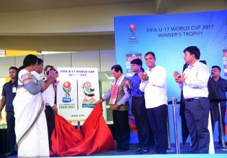 Assam CM Sarbananda Sonowal launches Guwahati's FIFA U-17 World Cup India 2017 Host City Logo (Photo courtesy: FIFA U-17 World Cup India 2017 LOC)