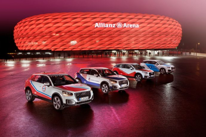 Four Audi Q2 cars sporting the colors of the clubs advertise the Audi Cup (Photo courtesy: AUDI AG)