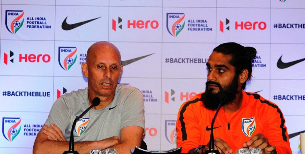 India coach Stephen Constantine and Sandesh Jhingan (Photo courtesy: AIFF Media)