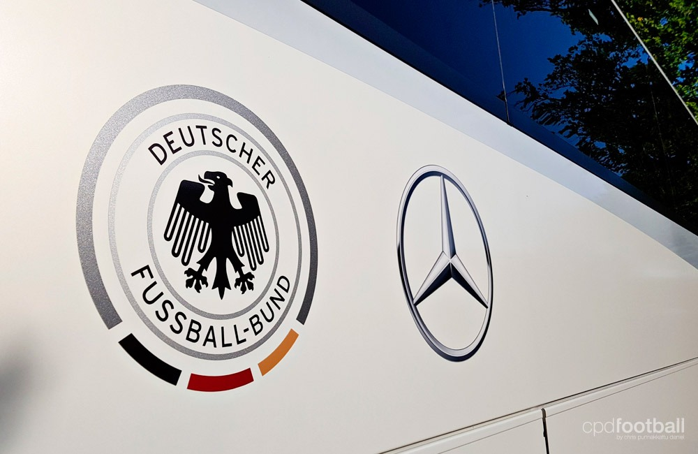 The Germany U-21 national team bus featuring the DFB and Mercedes-Benz logo. (© CPD Football)