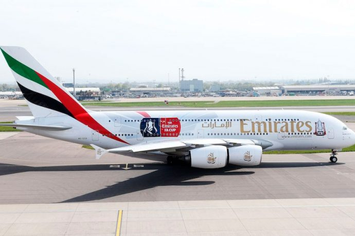The Emirates FA Cup branded A380 (Photo courtesy: Emirates)