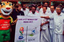 Kerala CM Pinarayi Vijayan launches Kochi Host City Logo for FIFA U-17 World Cup India 2017. (Photo courtesy: FIFA U-17 World Cup India 2017 LOC)