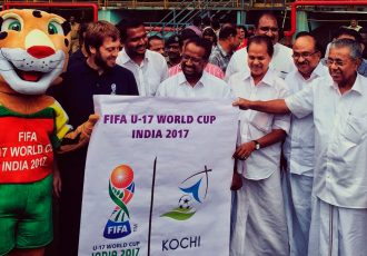 Kerala CM Pinarayi Vijayan launches Kochi Host City Logo for FIFA U-17 World Cup India 2017. (Photo courtesy: FIFA U-17 World Cup India 2017 LOC)