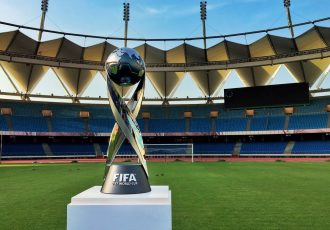 The FIFA U-17 World Cup Trophy at the Jawaharlal Nehru Stadium in New Delhi (Photo courtesy: AIFF Media)