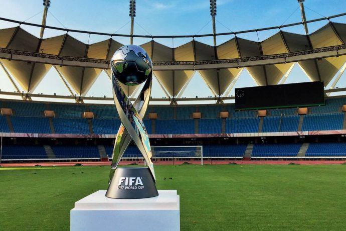The FIFA U-17 World Cup Trophy at the Jawaharlal Nehru Stadium in New Delhi (Photo courtesy: AIFF Media)