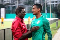Indian football legend IM Vijayan and Indian national team goalkeeper Subrata Paul. (Photo courtesy: AIFF Media)