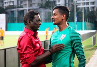 Indian football legend IM Vijayan and Indian national team goalkeeper Subrata Paul. (Photo courtesy: AIFF Media)
