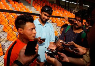 Indian international Jackichand Singh facing the media (Photo courtesy: AIFF Media)