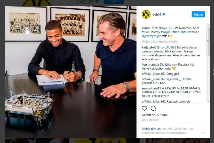 Borussia Dortmund sign young full-back Jeremy Toljan from Hoffenheim. (Photo courtesy: Screenshot - Borussia Dortmund via Instagram)