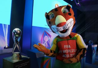 Kheleo with the FIFA U-17 World Cup Trophy (Photo courtesy: FIFA U-17 World Cup India 2017 LOC)